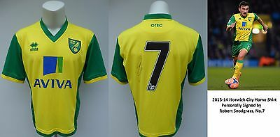 2013-14 Norwich City Home Shirt Signed by Robert Snodgrass No.7 (10355)