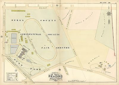 1884 Reading, Pa Berks County Agricultural Society & Fair Grounds Copy Atlas Map