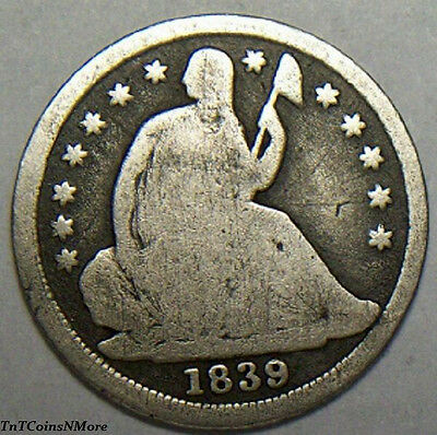1839 Seated Liberty Half Dime - 90% Silver - Free Shipping !!
