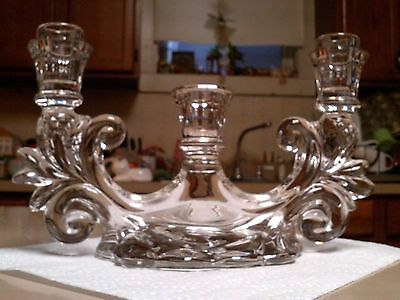 """Antique 3 Candle Crystal Glass Candle Holder Beautiful Flowing Design 11"""" Across"""