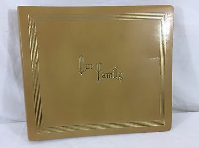 VTG Mid Century Photo Album Scrap Book Unused Leatherette 35 Pages Our Family