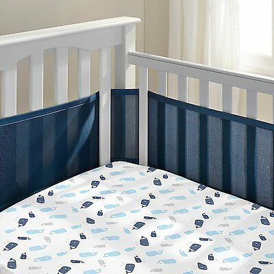 ​BreathableBaby Breathable Mesh Baby Nursery Crib Liner, True Navy UVG