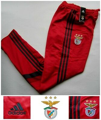 Benfica adidas Mens Tracksuit Training Football Bottoms Red SLB Track Pants NEW