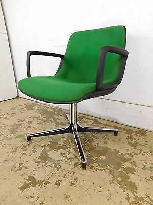 Vintage Mid Century Modern Eames Herman Miller Chrome Green Tweed Office Chair