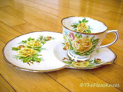 Royal Albert England YELLOW TEA ROSE Coffee Tea Cup and Luncheon Plate Set