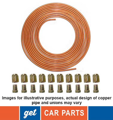 """Copper Brake Pipe 25Ft 3/16"""" (10X Male And Female M10 Unions For Free)"""
