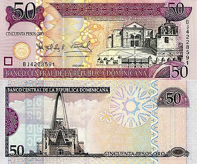 DOMINICAN REPUBLIC 50 Pesos Oro Banknote World Paper Money UNC Currency p-176a