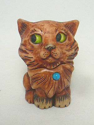 Harmony Kingdom Pot Belly's 2002 Turquoise Cat Figurine Box, December Birthstone