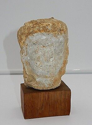 "ANCIENT ROMAN or GREEK MARBLE CHILD 5"" FACE / HEAD SCULPTURE ON WOODEN MOUNT"