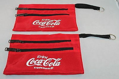Coca-Cola Zipper Pouches Set of 2- Each Have 2 Zipper Pockets, Never Used! Nice!