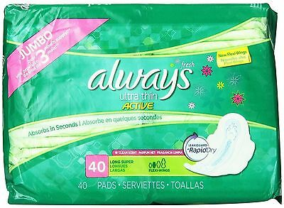 Always Ultra Thin Pads with Flexi Wings Long Super, Fresh Scent 40 Each 6pk