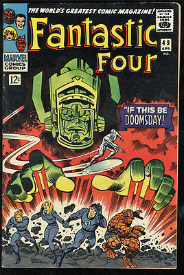 Fantastic Four #49 FN+ OW Pages 1st Galactus & Silver Surfer Cover