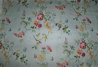 Schumacher Greef Birds Cotton Chintz Toile  Fabric 3 Yard Remnant Lt Blue