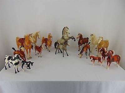 Mix Lot of 16 Plastic Toy HORSES Various Scale Models Including BREYER