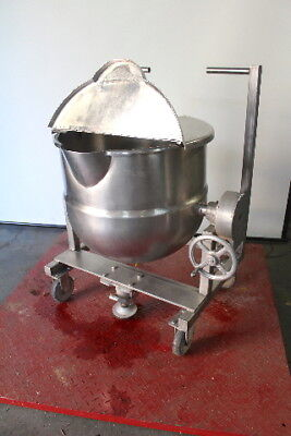 TC 30 Gallon Stainless Steel Tilting Steam Kettle with Lid and Caster Wheels