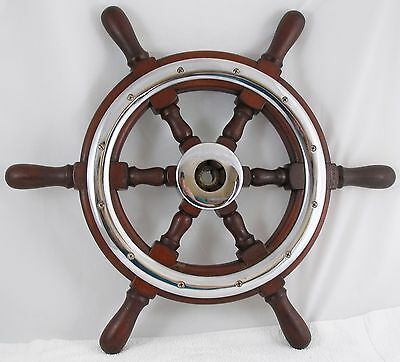 AUTHENTIC 22 inch Mahogany Chris Craft BOAT SHIPS WHEEL  Nautical