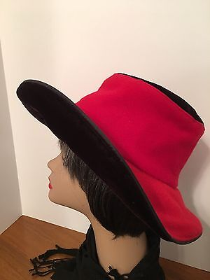 Ladies Church Hat Red Felt And Black Velvet Wide Brim, Vintage
