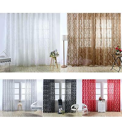 Bubble Leaf Pattern Window Sheer Curtain for Bedroom Living Room 100x270cm