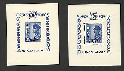 Wwii-Croatia-Ndh-Mnh**  Perforated+Imperforated Block-Ante Pavelic-1943.