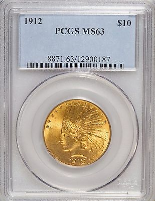 1912 $10 Gold Indian Eagle PCGS MS63