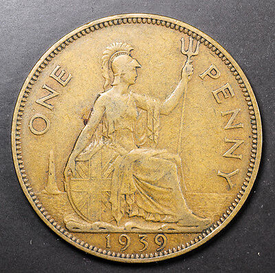 1939 Great Britain one penny Foreign Coin  - Free S&H