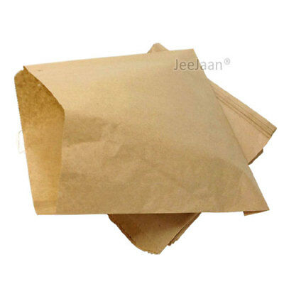 "100 x Brown Strung Kraft Paper Food Bags - 10"" x 10"" Takeaway Restaurant"