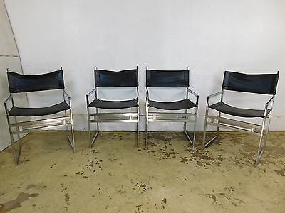 Set 4 Black Leather & Chrome Director Arm Chairs Mid Century Modern Hollywood