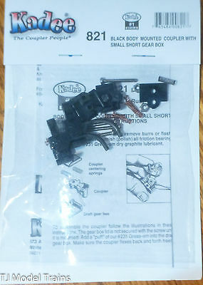 Kadee #821 Black Body Mounted Coupler w/Small Short Gear Box (#1 Scale)