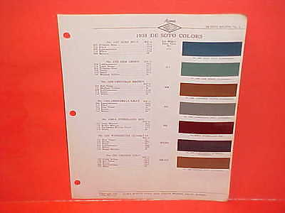 1938 Desoto Convertible Business Coupe Touring Brougham Paint Chips Brochure 38