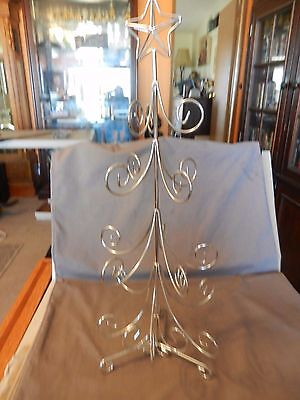 """Small 20"""" Tall Silver Metal Christmas Tree for Tabletop Can Hang Ornaments On It"""