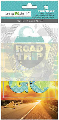 Paper House ROAD TRIP 4x4 Mixed Card Pack (18pc) scrapbooking TRAVEL VACATION