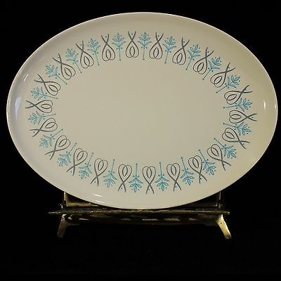 Vintage Taylor Smith Taylor Adagio Oval Serving Platter Blue Grey MCM 13.5""