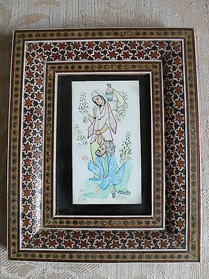 Rare Vintage Persian Signed Miniature Qajar Painting With A Great Khatam Frame.