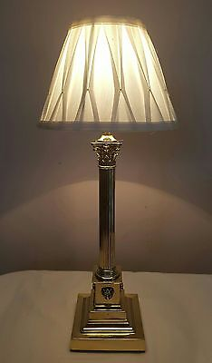 Antique C1920 Edwardian Corinthian Brass Table Lamp. Fully Rewired