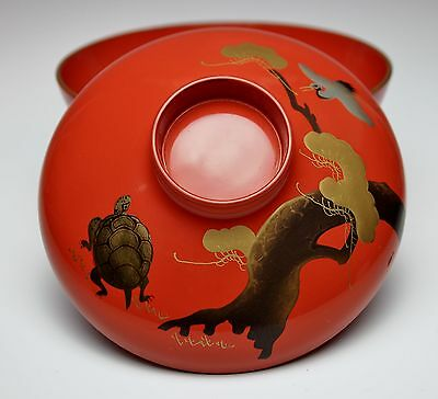 JAPANESE LACQUER COVERED TORTOISE & CRANE BOWL Red Urushi Antique Chawan