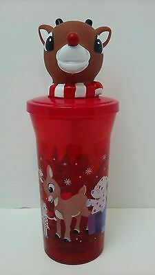 NEW RUDOLPH THE RED NOSE REINDEER FLASHING LIGHTS DRINKING CUP w/ Lid