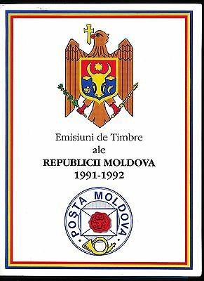 Moldova 1991-1992 PRESENTATION FOLDER WITH MNH ISSUES AS SHOWN; CV STAMPS $30