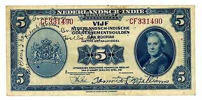 Netherlands Indie ...P-113 ...5 Gulden ...1943 ...*VF++* Pang Pang (philippines)