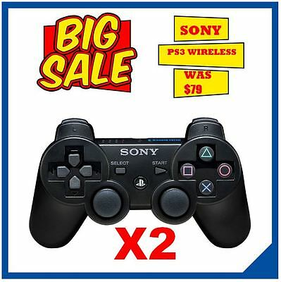 2 X PS3 Controller Sony Dualshock Official Wireless Controller for PS3