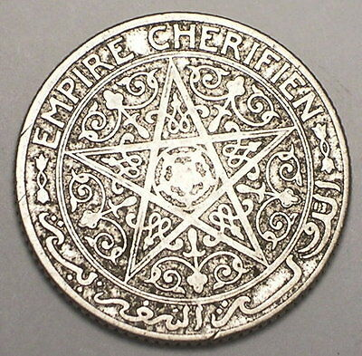 1921 Morocco Moroccan 50 Centimes Pentacle Coin F