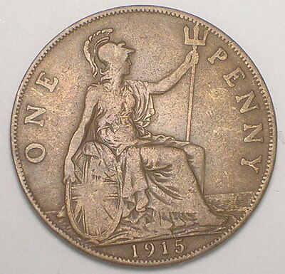 1915 UK Great Britain British One 1 Penny King George V Coin F+