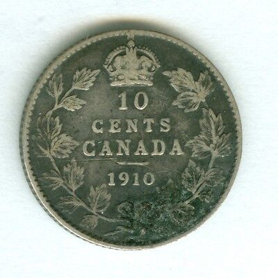 Canada 1910 Ten Cents--Circulated--Silver.
