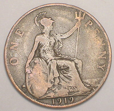 1919 UK Great Britain British One 1 Penny King George V WWI Era Coin VF