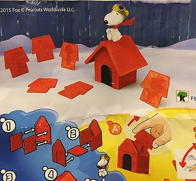 KINDER Egg Charlie Brown PEANUTS Snoopy Doghouse Figure Sketch Activity NEW