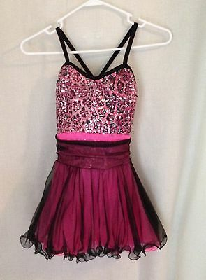 Competition Dance Costume Pink and Black - Girls Medium 10-12
