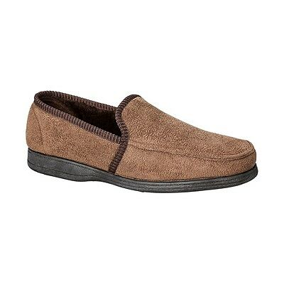Grosby Michael Brown Mens Slippers Slip On Moccasins House Shoes Classic