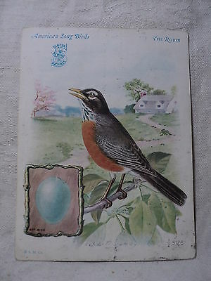 1927 SINGER SEWING MACHINE Advertising Victorian Trade Card Bird THE ROBIN
