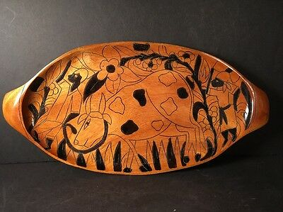 Vintage Hand Carved And Painted  Oval Wood Tray