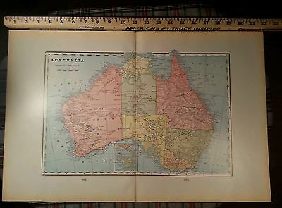 "AUSTRALIA Map 1902 Antique Original FINE 22""x14.5"" Old Canberra Sydney MAPZ117"
