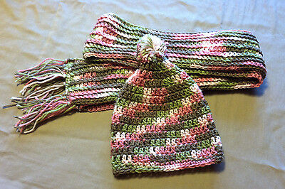 Camo Hat Scarf Set Girls Handmade Crochet Green Pink Brown Winter Snow